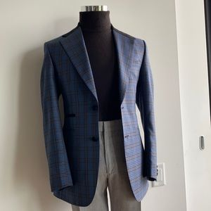Three P Bespoke Custom Suede and Gingham Suit 48R